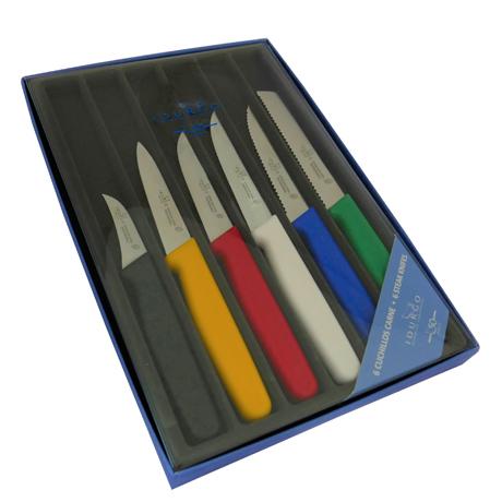 Conjunto 6 cuchillos legumbres colores